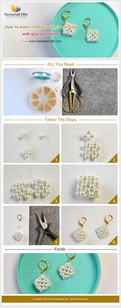 #Beebeecraft tutorials on how to make #rhombus #dangleearrings with #glasspearl #beads