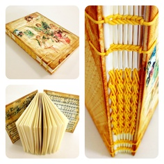 Handmade Notebook Journal, Sketchbooks, Photo album, Coptic stitched, Diary, Scrapbook, Recycled paper, Vintage books - Yellow Angel.