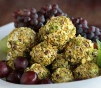 Pistachio-Goat Cheese Grapes | Recipes by Amy Tobin