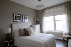 Monochromatic guest room.  Paint color (Benjamin Moore - Rocky Road).