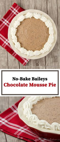 This no-bake Baileys chocolate mousse pie is rich and creamy with delightful specks of chocolate all throughout. It's fast and easy to make too. No oven needed!