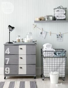 ikea tarva dresser. Don't like this exact look, but I like the knobs and how they're in the middle