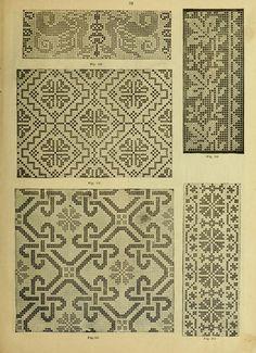 Cross-Stitch Embroidery, by Harriet Cushman. - It Was A Work of Craft Cross Stitch Borders, Cross Stitch Designs, Cross Stitch Patterns, Diy Embroidery, Cross Stitch Embroidery, Embroidery Patterns, Embroidery Books, Fair Isle Knitting Patterns, Fillet Crochet