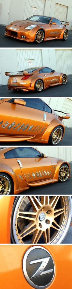 A nice kitted orange Nissan (way too many stickers though) - Today Pin Nissan 350z Convertible, Street Racing Cars, Nissan Z, Reliable Cars, Datsun 240z, Japanese Cars, Jdm Cars, Car Car, Fast Cars