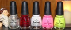 China Glaze -Luxe and lush -Ruby pumps -There's snow one like you -Shocking pink -Celtic sun