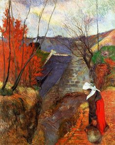 Paul Gauguin (French, Post-Impressionism, 1848-1903), Breton Woman with a Pitcher, 1888. Breton Period. Oil on canvas, 92 x 72 cm. Private Collection.
