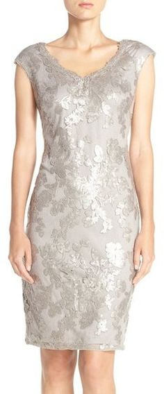 Adrianna Papell Sequin Lace Sheath Dress