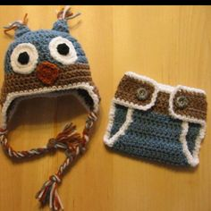 Owl hat and diaper cover for newborn pictures. Beautiful Blessings Crochet.