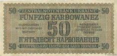 50 Karbowanez UKRAINE 1942 P.054 b69_0108 Banknotes Face Value : 50 Karbowanez Date: 10 mars 1942 Period/Provinces/Banks Ukrainian Central Bank Catalogue reference : P.054