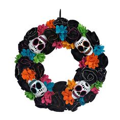Day of the Dead Black Skull Wreath   Kirklands
