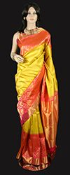 1000 images about new breed kanjeevaram sarees on - Peach and red combination ...