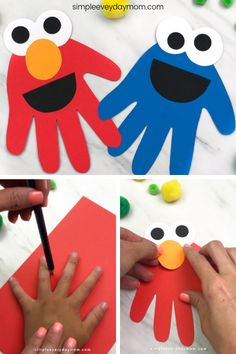 This handprint Sesame Street character craft is a fun and simple activity for toddlers who love Elmo and Cookie Monster. It's an easy paper craft that's screen free! and crafts for kids toddlers easy Handprint Sesame Street Craft For Toddlers Paper Crafts For Kids, Craft Activities For Kids, Baby Crafts, Toddler Activities, Fun Crafts, Stick Crafts, Popsicle Crafts, Elderly Activities, Dementia Activities