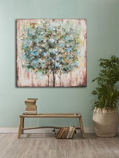 Original Tree Rustic Distressed Wall Art Mixed Media Oil Painting On Canvas Shabby Chic