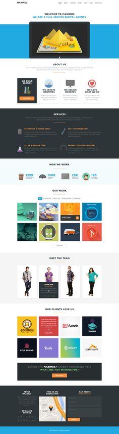 Maximus - One Page Multipurpose Flat PSD Template by Zizaza - design ocean , via Behance