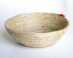 bowl made using a larger mold and hemp cord