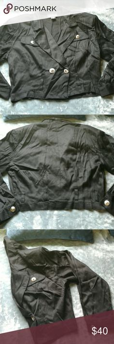 """NWOT She Said black crop blazer S BNWOT Women's black rayon  """"She Said"""" crop blazer size Small . Long sleeve with silver button cuff. Shoulder pads, Double breasted with 2 Silver button closure and belt loops. 2 faux breast pockets. This jacket is a must have!!! Thanks for looking!! She Said Jackets & Coats Blazers"""