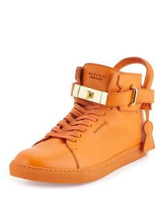 100mm High-Top Leather Sneaker, Orange by Buscemi at Neiman Marcus. Leder  Sneakers 4331577e97