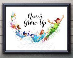 Disney Peter Pan nie erwachsen werden Zitat Aquarell Kunst