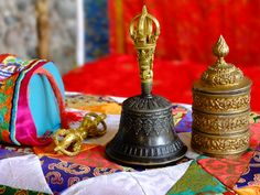 Buddhist Bell and Dorje (Diamond), symbolizing the unity of Compassion and Wisdom inseparable.