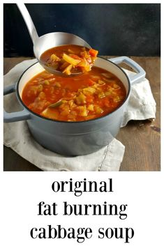 Original Fat Burning Cabbage Soup might have been part of a diet but is fantastic, quick, easy & absolutely delish soup - and it doesn\'t hurt that it\'s healthy! Makes a lot & freezes well. Great for Meal Prep. #FatBurningSoup #OriginalFatBurningSoup #OriginalFatBurningCabbageSoup #CabbageSoup Cabbage Diet, Cabbage Soup Recipes, Diet Soup Recipes, Cooking Recipes, Original Cabbage Soup Recipe, Vegetable Soup Cabbage, Easy Cabbage Soup, Cabbage Fat Burning Soup, Health Recipes