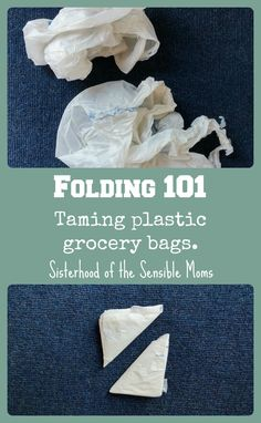 How to fold plastic grocery bags to reduce your clutter. | Clean and Organized | Great tip for packing and travel! Sisterhood of the Sensible Moms