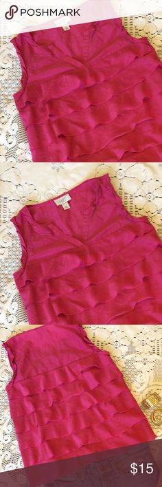 💕ANN TAYLOR LOFT pink tiered ruffle top XSP. 💕ANN TAYLOR LOFT pink tiered ruffle top XSP. So pretty! This Top is in excellent condition. Pretty in pink. Pull over, super soft cotton, gentle tiered ruffle design. Super cute! Tons of option with this Top! 💕 ann taylor loft Tops