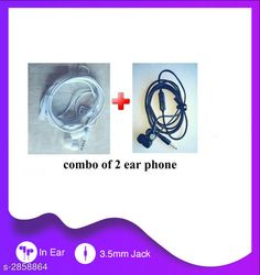 Wired Headphones & Earphones General Wired Earphone( Pack Of 2 ) Material : PlasticRubber & Metal Size : Free Size  Type : In Ear Audio Jack : 3.5 mm Compatible With : All Smart Devices With Mic : Yes Description: It Has 2 Pieces Of Wired Earphone Country of Origin: India Sizes Available: Free Size   Catalog Rating: ★4 (1742)  Catalog Name: General Wired Earphone Vol 1 CatalogID_388288 C97-SC1375 Code: 912-2858864-