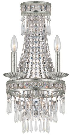 Crystorama 5262-OS-CL-MWP 2-Lights Clear Hand Polished Crystal Wrought Iron Wall Sconce, Olde Silver Finish - Olde Silver