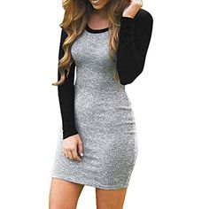c43751afea82 Women Dress, ღ Ninasill ღ Hot Sale ! Splice Color Block Long Sleeve Bodycon  Evening Party Mini Club Skirt Blouse Tops. Bodycon Tshirt ...