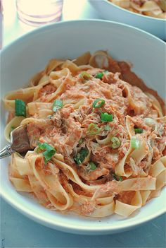 Creamy Tomato and Crab Fettuccine | And um, riddle me this. Have you ever added delicate jumbo lump crab meat (you have no idea how many times I've nearly typed crap) into a rich, creamy, fresh tomato sauce and twirled it around 45 pounds of fettuccine and flown it into your mouth like the frickin' Air Force One? | From: bevcooks.com