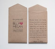 Custom Printed Kraft Wedding Favor Seed Packet Envelopes - Many Colors Available