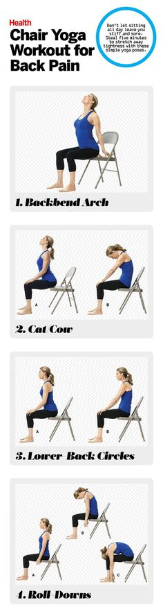 These chair yoga poses work great for anyone with back pain. | Health.com