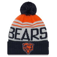 4c039167bbd Men s Chicago Bears New Era Gray Navy Team Pride Cuffed Knit Hat with Pom