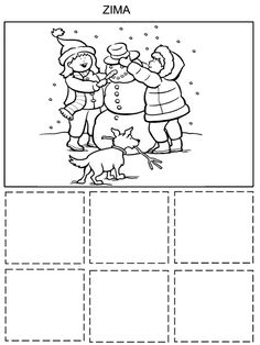 Tridime obleceni Zima - Leto Coloring Pages, Seasons, Activities, Photo And Video, Struktura, Montessori, Puzzles, Children, Flowers
