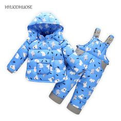 HYLKIDHUOSE 2017 Baby Girls Boys Winter Suits Infant Down Outdoor Clothes Sets Thick Windproof Children Kids Coats Overalls