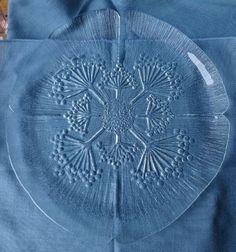 Finnish Art Glass Pertti Kallioinen 1960s mid century Flowers Mansalan Platter