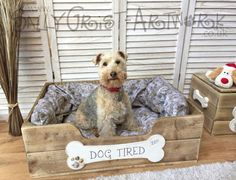 Hand-crafted wooden dog bed LARGE  by SallyGristArtwork on Etsy