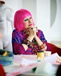 Zandra Rhodes-Her early textile designs were considered too outrageous by the traditional British manufacturers so she decided to make dresses from her own fabrics and pioneered the very special use of printed textiles as an intrinsic part of the garments she created.