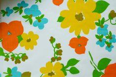 vintage fabric fat quarter - yellow orange and blue happy flowers