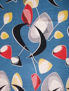 Vintage 1950s Barkcloth Atomic Kinetic Crescent Mobile Eames Era Cotton Fabric | eBay