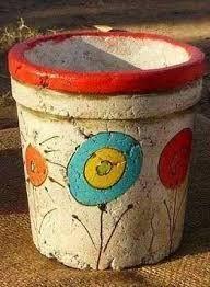 Resultado de imagen para macetas en pasta piedra Creative Crafts, Diy And Crafts, Arts And Crafts, Paper Crafts, Mascara Papel Mache, Mundo Hippie, Pasta Piedra, Do It Yourself Crafts, Painted Pots