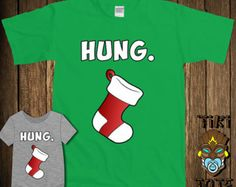 Funny Hung Stocking Christmas Mature Joke Bodysuit Toddler Youth Adult T-shirt Tee Shirt Family Santa Cute Infant Clothes New Born Boy Gift