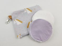 Gold unicorn print zipper pouch with reusable breastfeeding pads Nappy Wallet, Modern Cloth Nappies, Small Zipper Pouch, Nursing Pads, Feminine Hygiene, Unique Baby Shower Gifts, Cosmetic Pouch, Unicorn Print, Waterproof Fabric