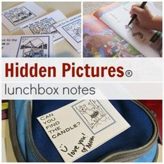hidden pictures lunchbox notes: one of my favorite--and coolest-- ways to get kids excited for lunchtime and doing some reading! #backtoschool