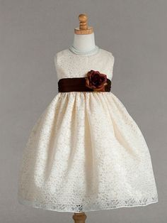 Ivory Floral Lace Flower Girl Dress for Baby Anna! take the red flower off and put on a blue brooch