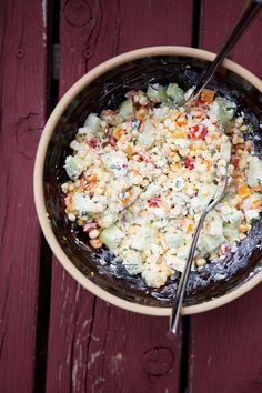 Sweet corn salad with buttermilk herb dressing