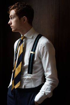 "lnsee: "" Gordon Gekko Albert Thurstons Drake's new collection Available at the Armoury "" Preppy Men, Preppy Style, Men's Style, Mens Attire, Mens Suits, Classic Man, Classic Style, Braces Suspenders, Dapper Men"