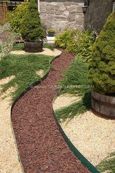 Stone pebble pathway