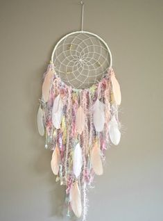 Large Dream Catcher Wall Hanging Decor Girls Room Decor, Dreamcatcher Bohemian Wall Decor Sweet 16 Gift - Most Beautiful House Designs 2020 Dream Catcher Decor, Large Dream Catcher, Feather Dream Catcher, Dream Catcher Boho, Dream Catchers, Diy Dream Catcher For Kids, Dream Catcher Mobile, Pastel Nursery, Pastel Room Decor