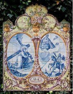 Do Tempo da Outra Senhora: Nossa Senhora no Azulejo Português -  Senhor dos Passos, Nossa Senhora da Nazaré (1º quartel do Século XIX). Painel de azulejos (126 x 98 cm).  Colecção Berardo.